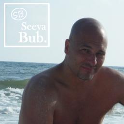 Dad at Beach with SB Logo