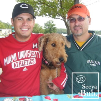 Me Dad and Lucy at Picnic with SB Logo