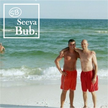 Dad and Me at Beach with SB Logo