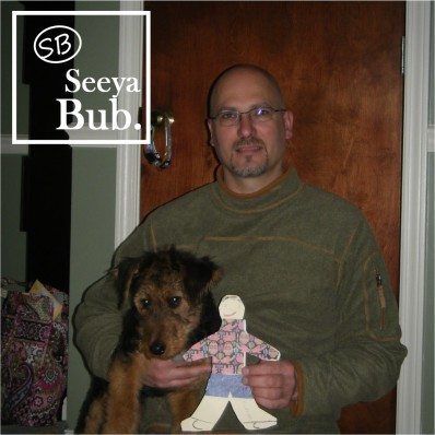 Dad with Flat Stanley and SB Logo