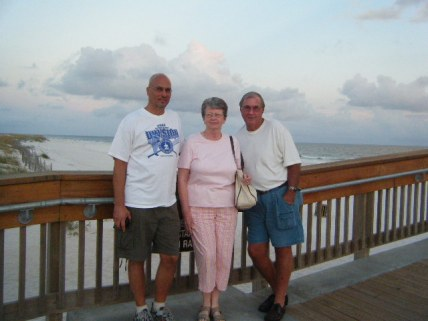 Dad Grandma and Grandpa at Beach