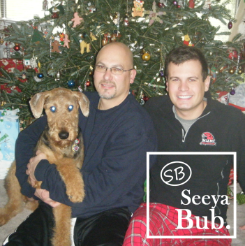 Dad Lucy and Me at Christmas with SB Logo