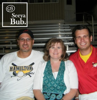 Family at Joes Game with SB Logo Left