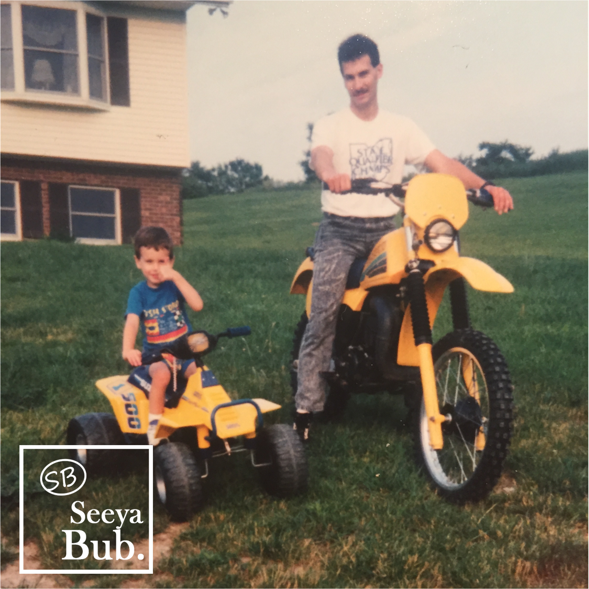 Dad and I on Dirtbike with SB Logo