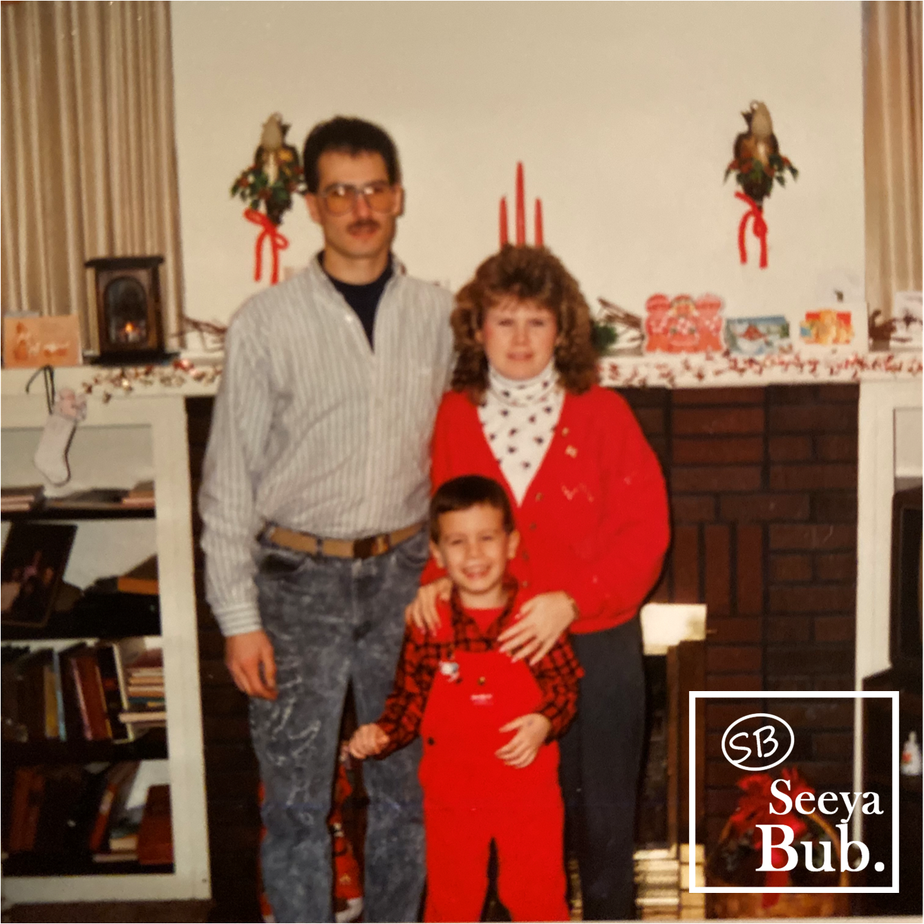 Family at Christmas with SB Logo